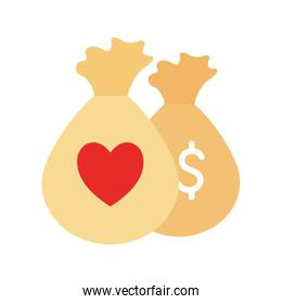 bags with heart as donation symbol flat style icon vector design