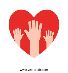 Heart with hands flat style icon vector design