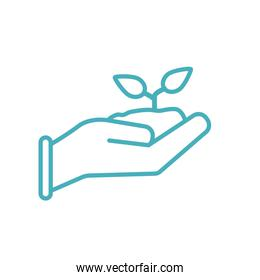 Plant with earth over hand line style icon vector design