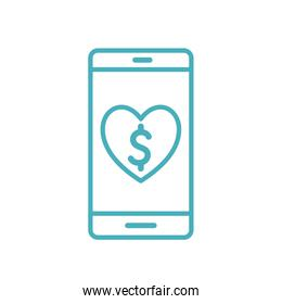 smartphone with heart as donation symbol line style icon vector design