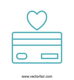 credit card with heart as donation symbol line style icon vector design