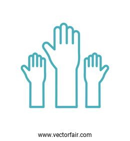 Isolated hands line style icon vector design