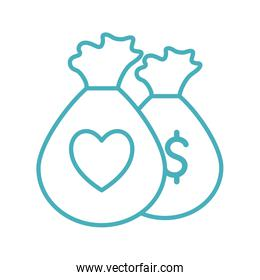 bags with heart as donation symbol line style icon vector design