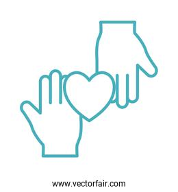 Hands with heart line style icon vector design