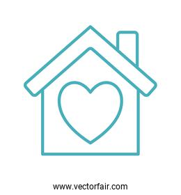 house with heart line style icon vector design