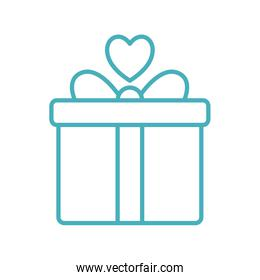 gift with heart as donation symbol line style icon vector design