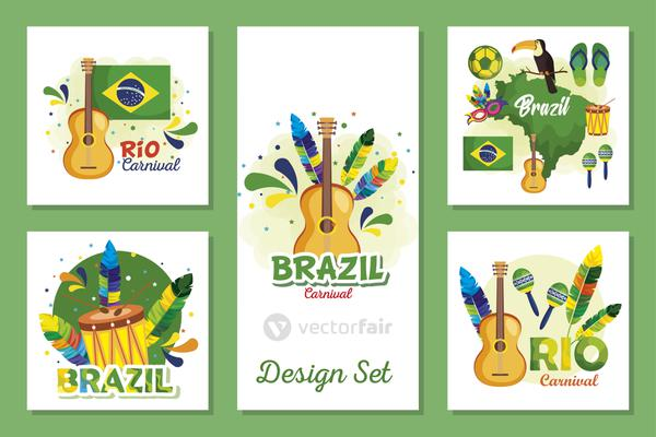 set designs of brazil carnival with icons