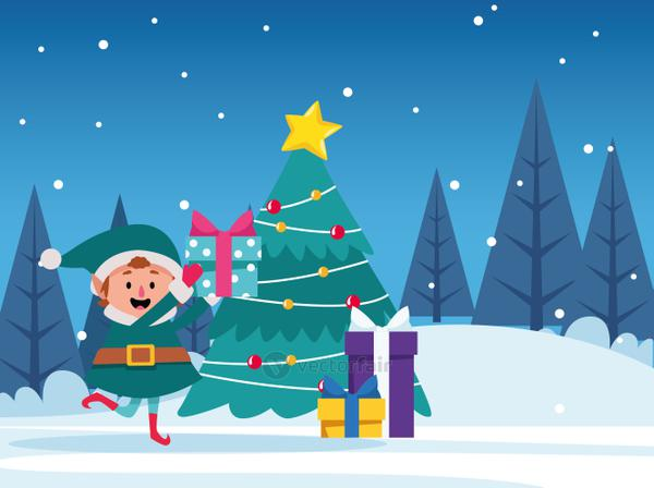 santas helper with gift boxes and christmas tree, merry christmas design