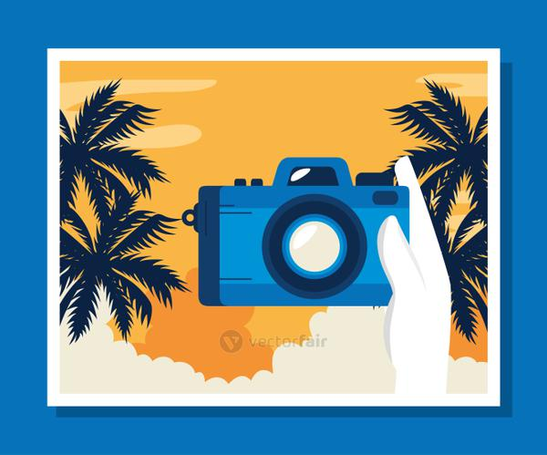 travel poster with camera and palms tree