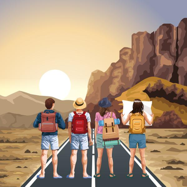 Beautiful Western landscape with travelers standing