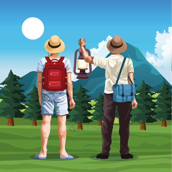 travelers men in nature landscape with mountains and trees, colorful design