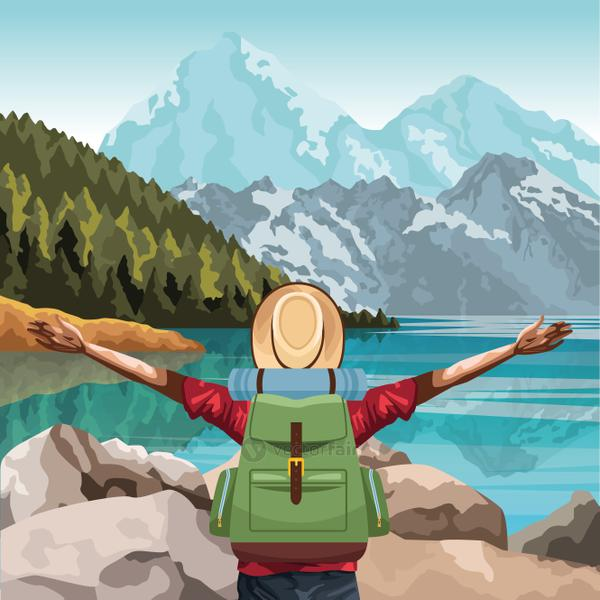 beautiful landscape with traveler man with his arms wide open