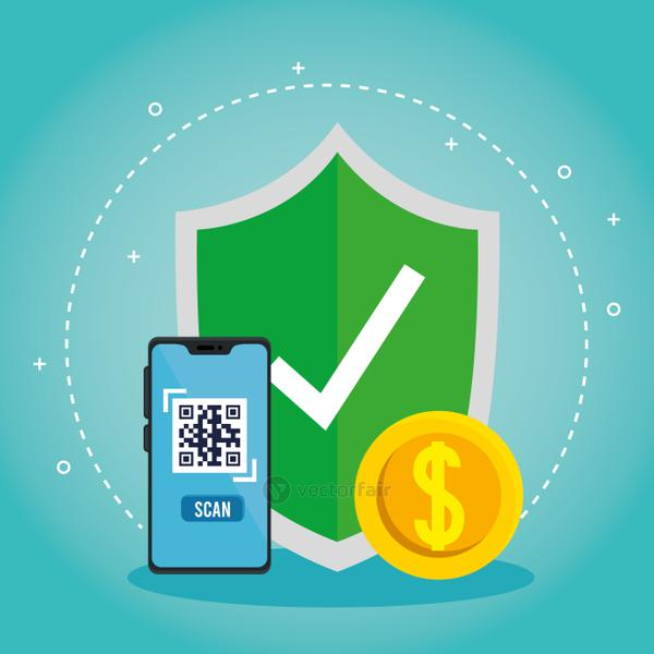qr code inside smartphone shield and coin vector design