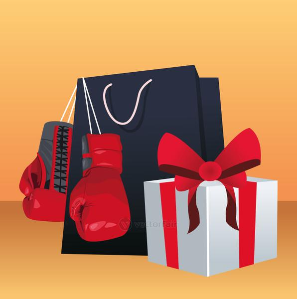 Boxing sale design with shopping bag, gift box and boxing gloves