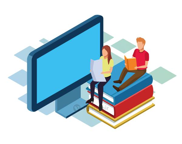 isometric design of computer and man and woman sitting on stack of books