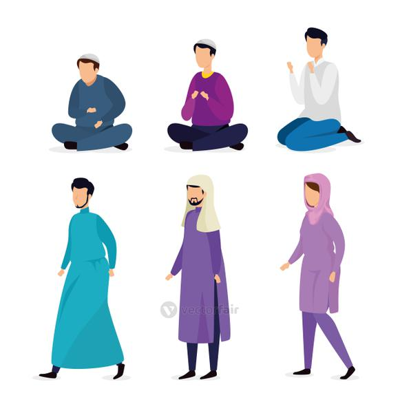 group of people muslim avatar character