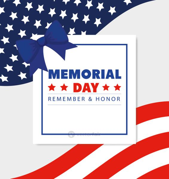 memorial day with square frame and bow ribbon decoration