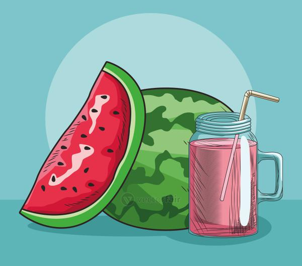 fresh fruit watermelon and juice food healthy