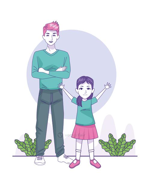 cartoon man with little girl standing, colorful design
