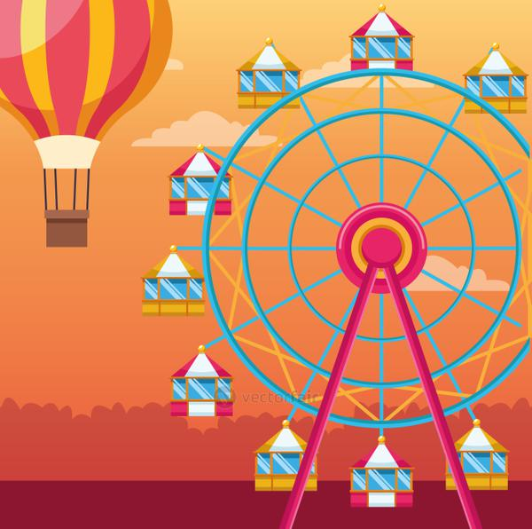 fair ferris wheel and hot air balloon over orange sunset background