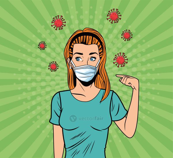 woman using face mask for covid19 pop art style