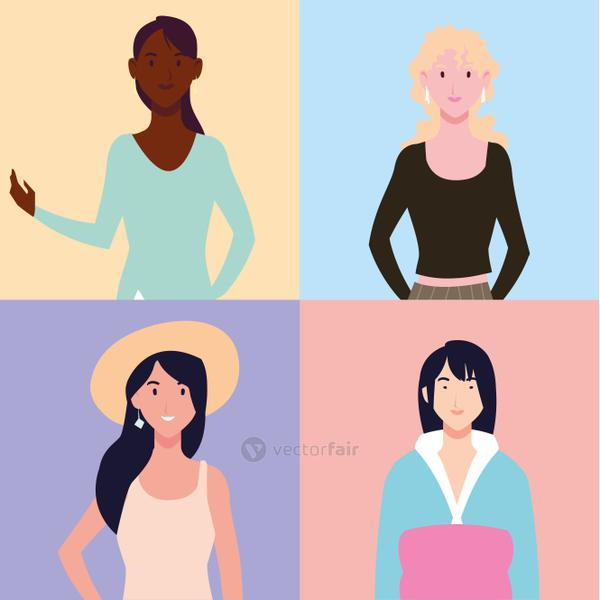 set of women with different poses