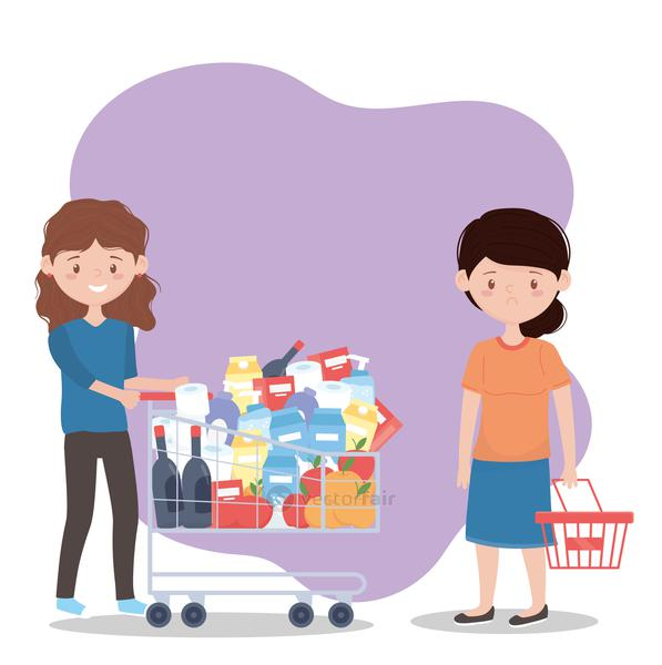 woman with full shopping cart and another worried with empty basket, excess purchase