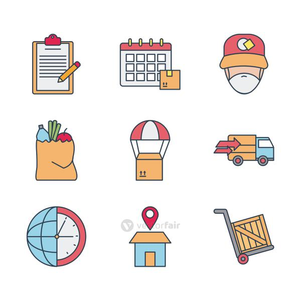 calendar and fast delivery icon set, line and fill style