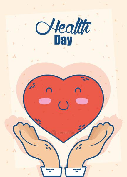 health day celebration poster with heart character