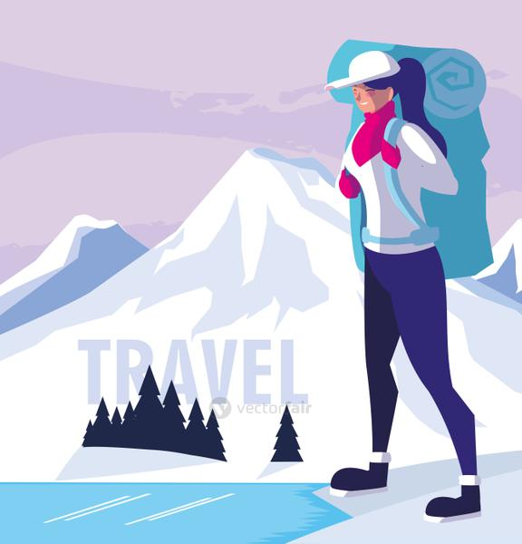 snowscape nature with traveler