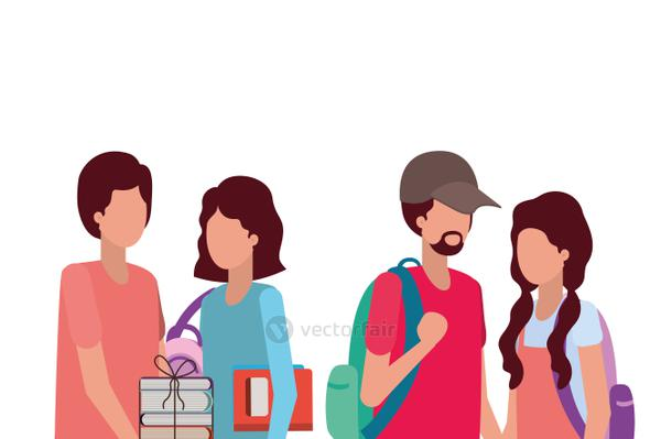 Couples of students vector design