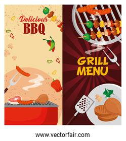 delicious grill menu with oven and meats