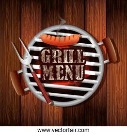 delicious grill menu with oven in wooden background
