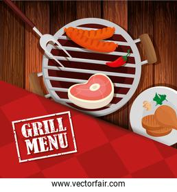 grill menu with oven and icons in wooden background