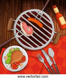 grill menu with oven and delicious food in wooden background