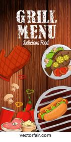 grill menu with delicious food in wooden background