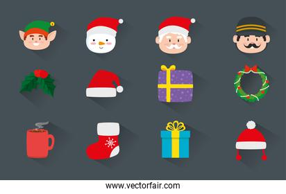 bundle christmas with decoration and characters