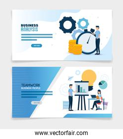 teamwork set scenes of analysis infographic
