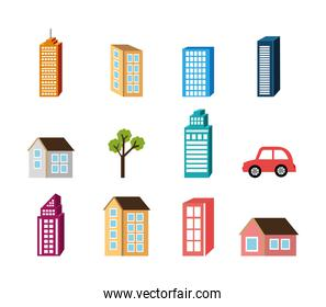 bundle of buildings facades isometric style