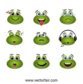bundle of emoticons frogs expressions