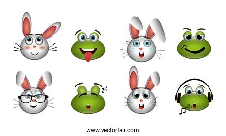 bundle of emoticons frogs and bunnies