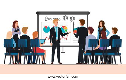 meeting of business people with infographic