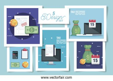 set five designs of tax and icons