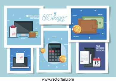 five designs pack of tax and icons