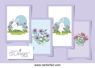 four designs pack  of easter rabbits with flowers