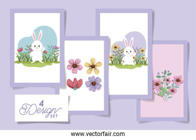 set four designs of easter rabbits with flowers