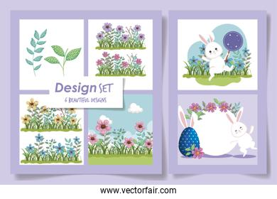 set six designs of easter rabbits with flowers