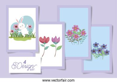 set four designs of easter bunny with flowers