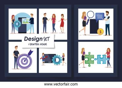 set six designs of people and icons business