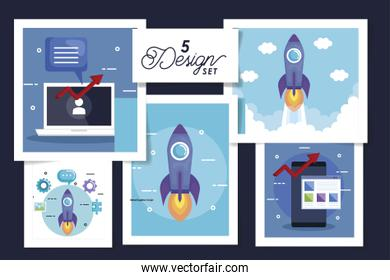 set five designs of business icons